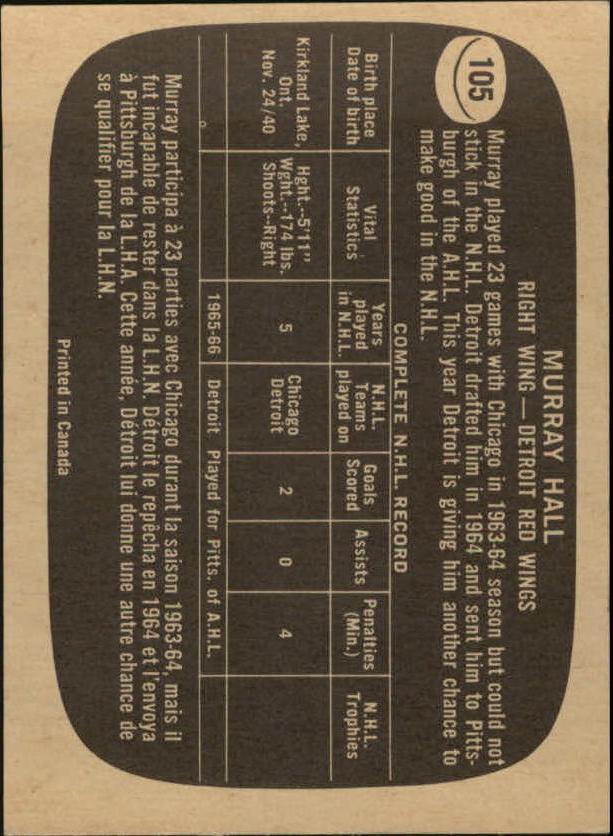 1966-67 Topps #105 Murray Hall back image
