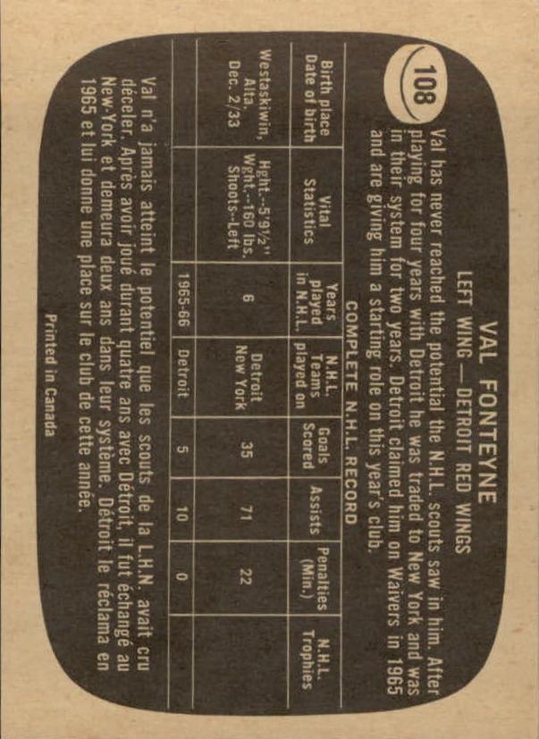 1966-67 Topps #108 Val Fonteyne back image