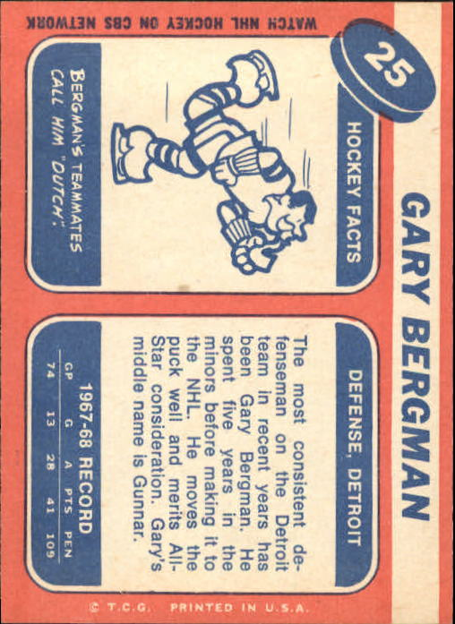 1968-69 Topps #25 Gary Bergman back image