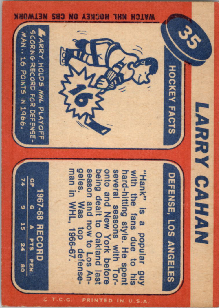 1968-69 Topps #35 Larry Cahan back image