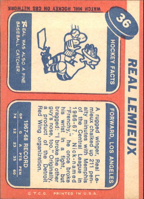 1968-69 Topps #36 Real Lemieux RC back image