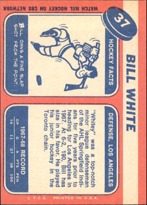 1968-69 Topps #37 Bill White RC back image