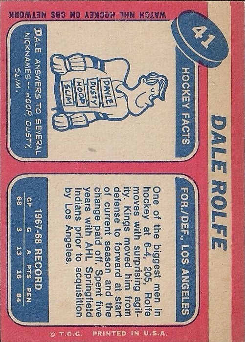 1968-69 Topps #41 Dale Rolfe RC back image
