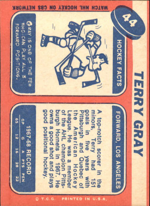 1968-69 Topps #44 Terry Gray back image
