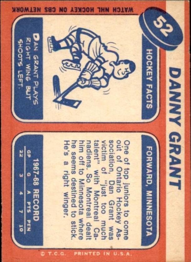 1968-69 Topps #52 Danny Grant UER/John Vanderburg pictured back image