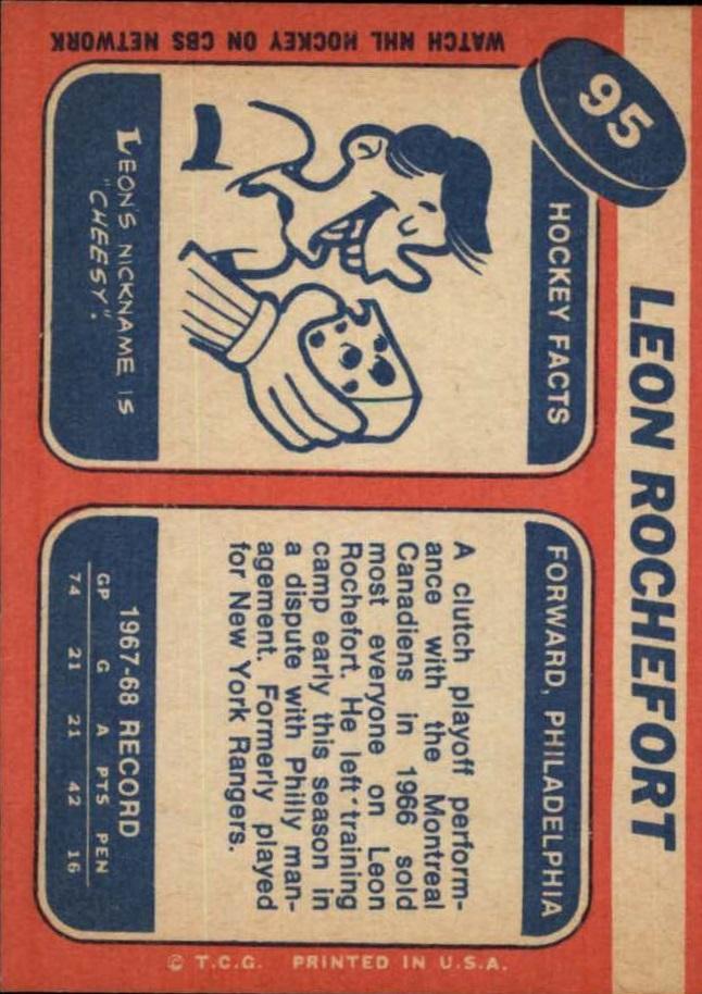 1968-69 Topps #95 Leon Rochefort RC back image