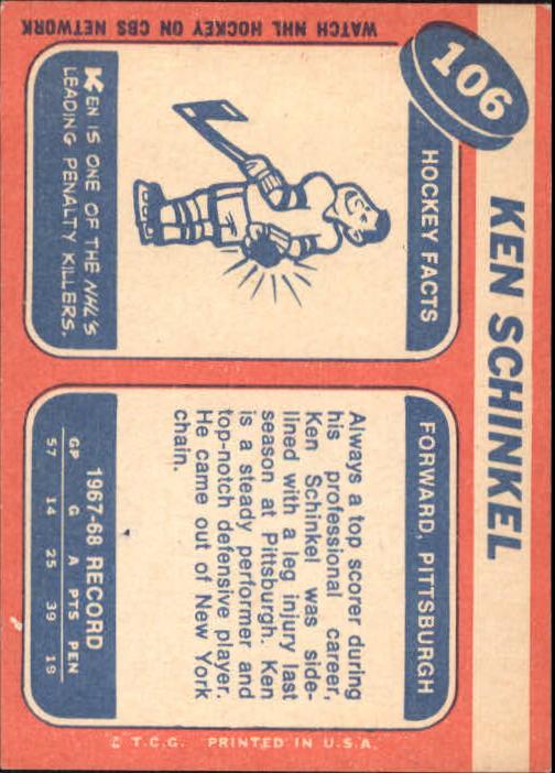 1968-69 Topps #106 Ken Schinkel back image
