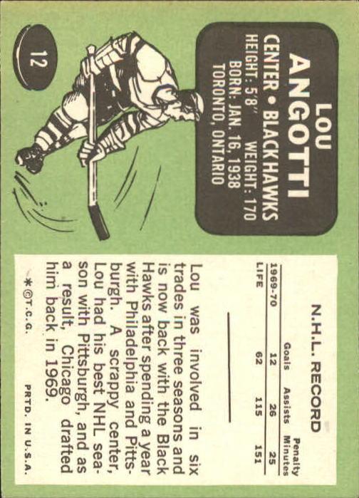 1970-71 Topps #12 Lou Angotti back image