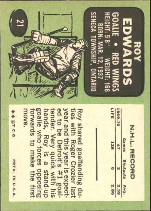 1970-71 Topps #21 Roy Edwards back image