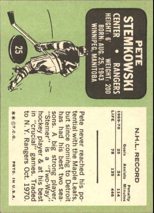 1970-71 Topps #25 Pete Stemkowski back image