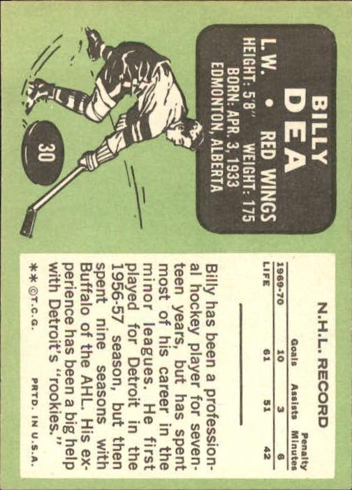 1970-71 Topps #30 Billy Dea back image