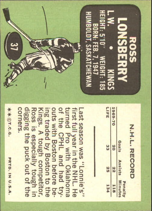 1970-71 Topps #37 Ross Lonsberry back image