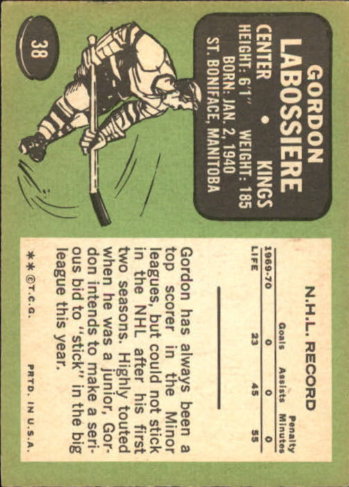 1970-71 Topps #38 Gord Labossiere back image