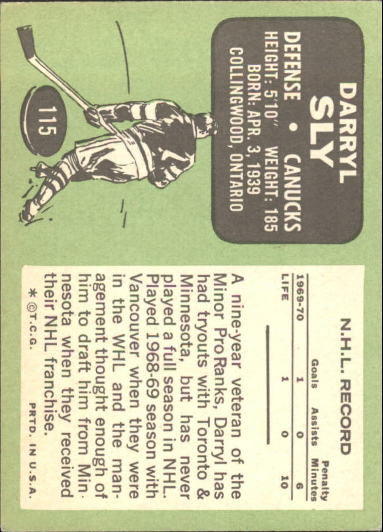 1970-71 Topps #115 Darryl Sly RC back image