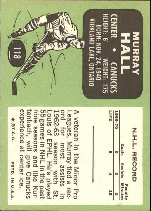 1970-71 Topps #118 Murray Hall back image