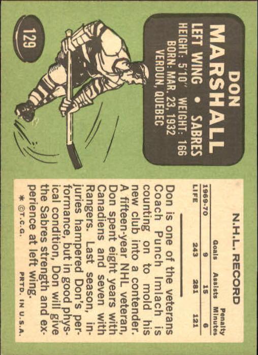 1970-71 Topps #129 Don Marshall back image