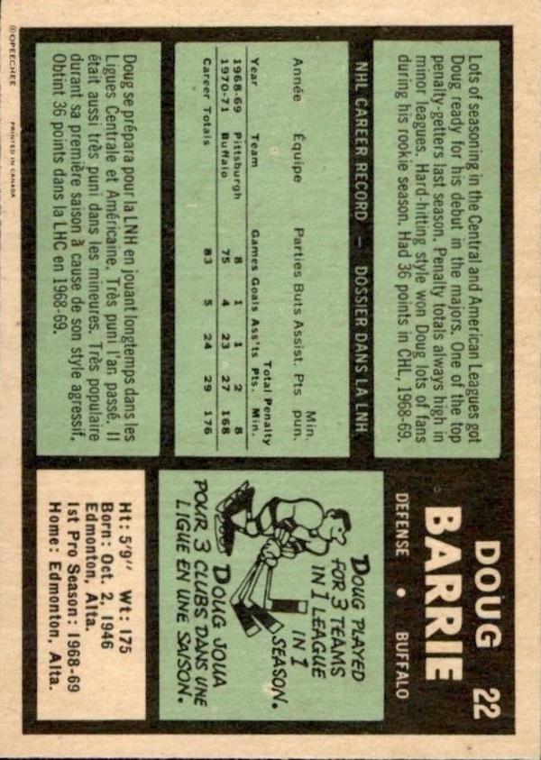 1971-72 O-Pee-Chee #22 Doug Barrie RC back image
