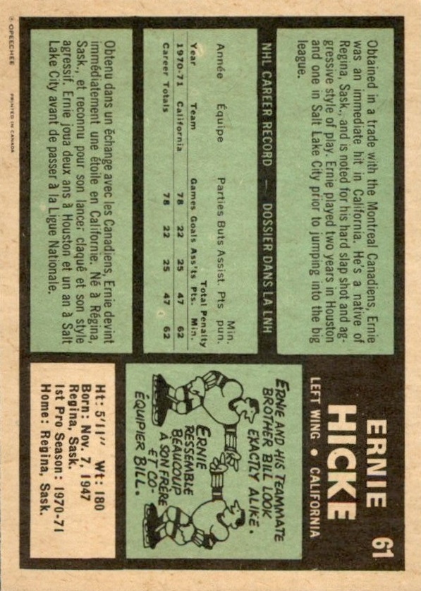 1971-72 O-Pee-Chee #61 Ernie Hicke RC back image