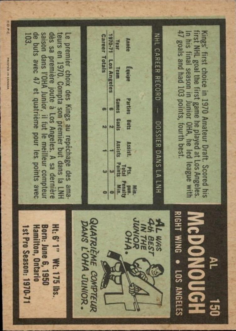 1971-72 O-Pee-Chee #150 Al McDonough RC back image
