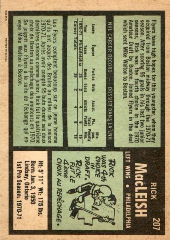 1971-72 O-Pee-Chee #207 Rick MacLeish RC back image