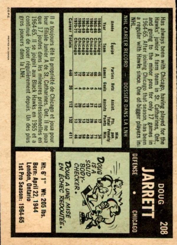 1971-72 O-Pee-Chee #208 Doug Jarrett back image