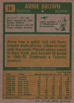 1971-72 Topps #14 Arnie Brown back image