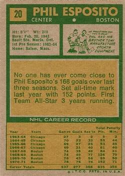 1971-72 Topps #20 Phil Esposito back image
