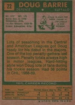 1971-72 Topps #22 Doug Barrie RC back image