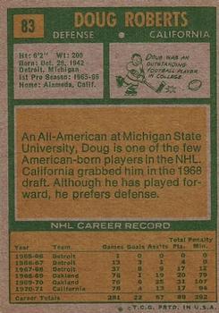 1971-72 Topps #83 Doug Roberts back image