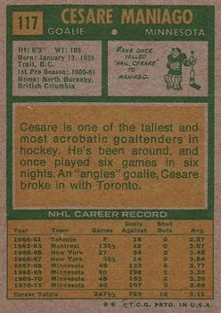1971-72 Topps #117 Cesare Maniago back image