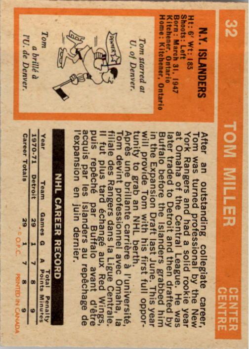 1972-73 O-Pee-Chee #32 Tom Miller RC back image