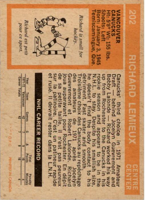 1972-73 O-Pee-Chee #202 Richard Lemieux RC back image