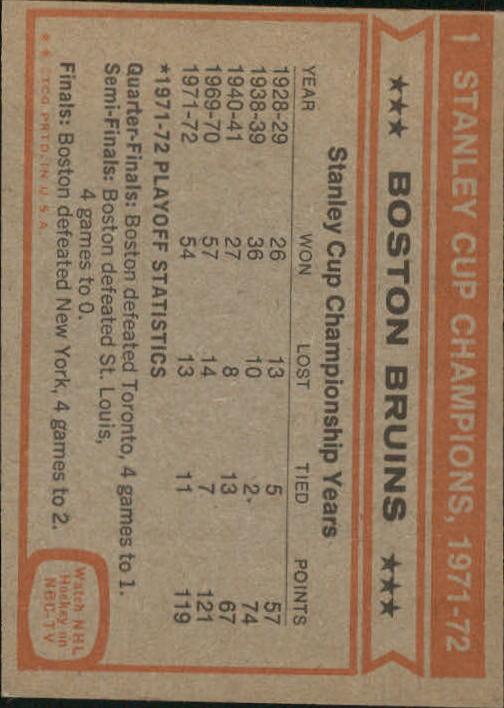 1972-73 Topps #1 World Champions DP/Boston Bruins Team back image
