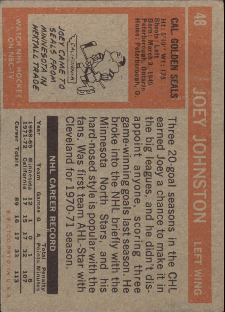 1972-73 Topps #48 Joey Johnston DP back image