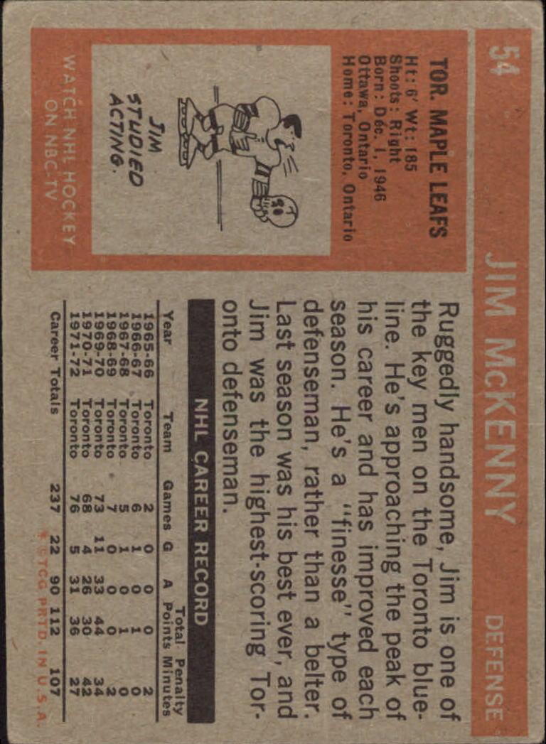 1972-73 Topps #54 Jim McKenny DP back image