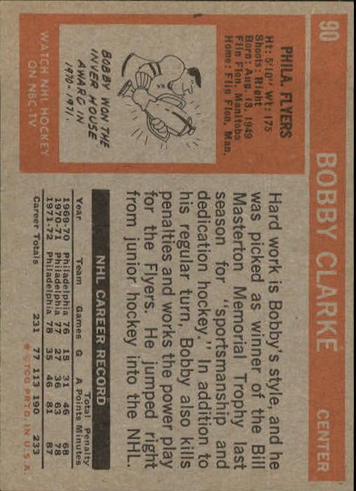 1972-73 Topps #90 Bobby Clarke back image