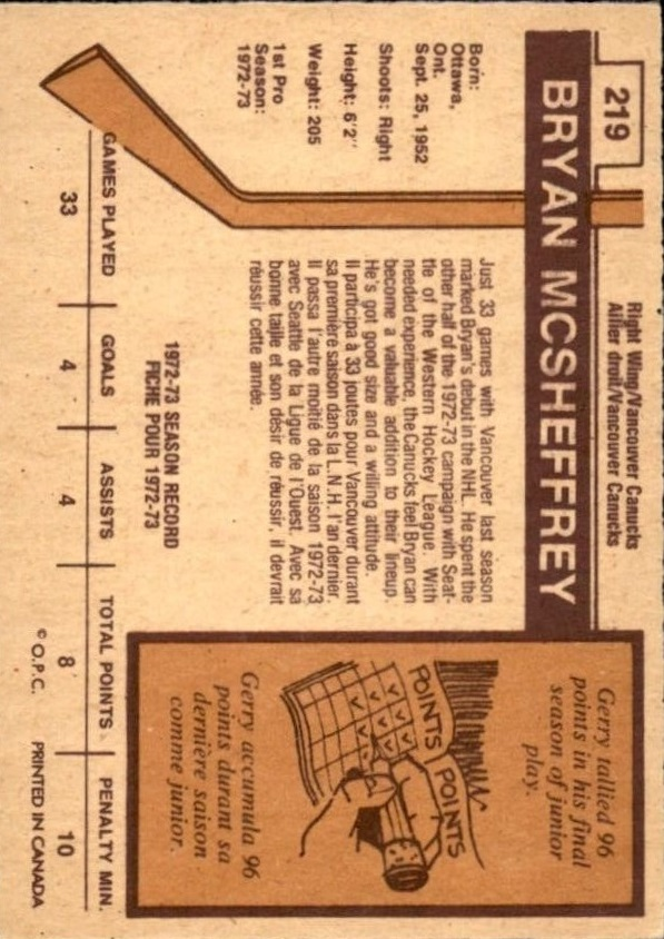 1973-74 O-Pee-Chee #219 Bryan McSheffrey RC back image