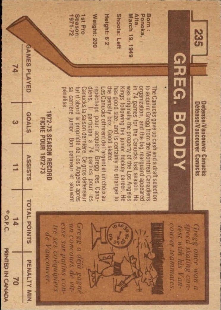 1973-74 O-Pee-Chee #235 Gregg Boddy RC back image