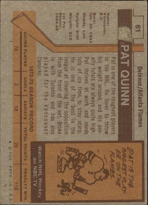 1973-74 Topps #61 Pat Quinn DP back image