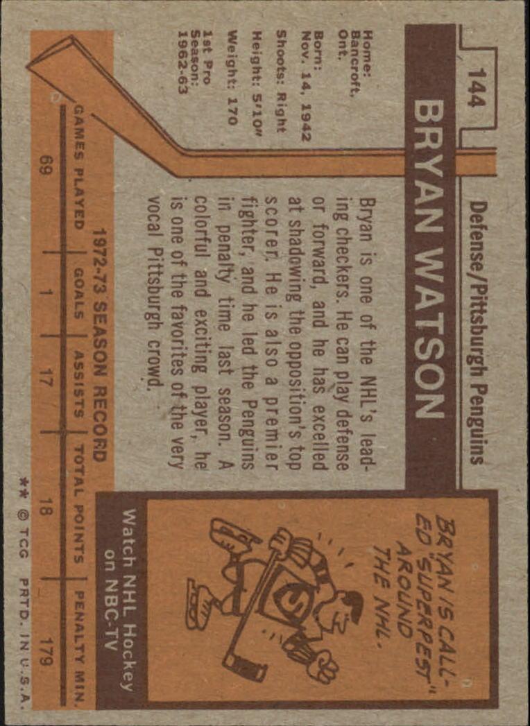 1973-74 Topps #144 Bryan Watson DP back image