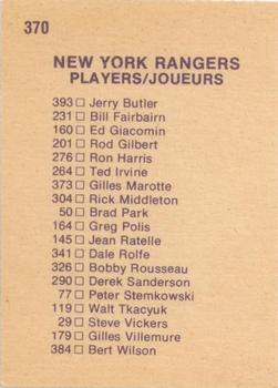 1974-75 O-Pee-Chee #370 Rangers Team CL back image