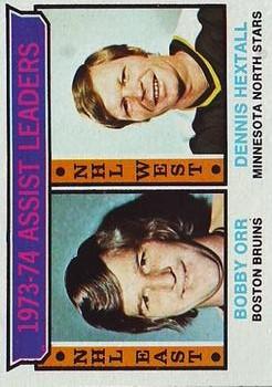 1974-75 Topps #2 Assists Leaders/Bobby Orr/Dennis Hextall