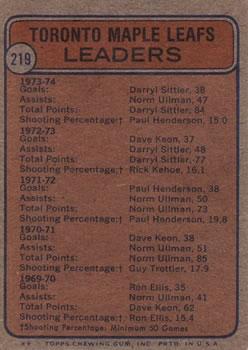 1974-75 Topps #219 Maple Leaf Leaders/Darryl Sittler/Norm Ullman/Paul Henderson/Denis Dupere back image