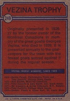 1974-75 Topps #249 Bernie Parent Vezina back image