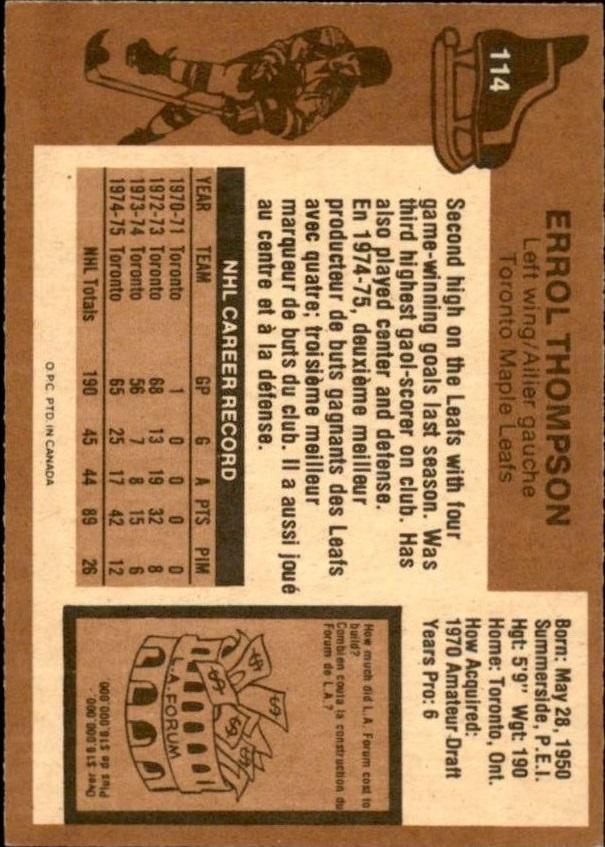 1975-76 O-Pee-Chee #114 Errol Thompson RC back image