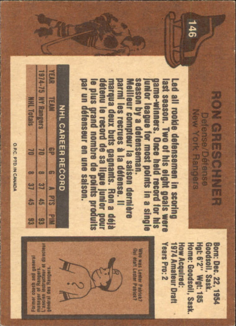 1975-76 O-Pee-Chee #146 Ron Greschner RC back image