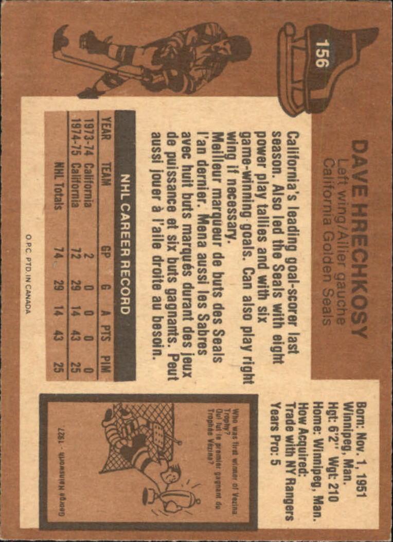 1975-76 O-Pee-Chee #156 Dave Hrechkosy RC back image