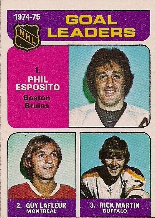 1975-76 O-Pee-Chee #208 Goals Leaders/Phil Esposito/Guy Lafleur/Richard Martin