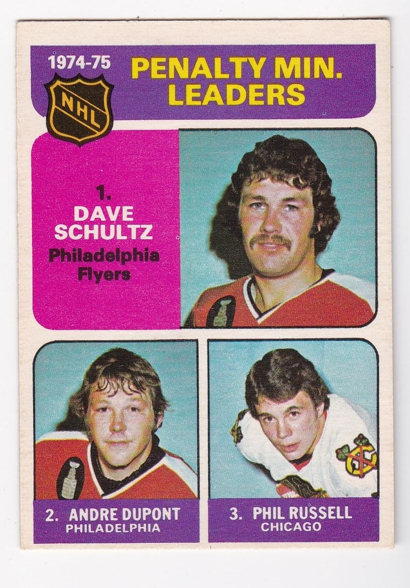 1975-76 O-Pee-Chee #211 Penalty Min. Leaders/Dave Schultz/Andre Dupont/Phil Russell