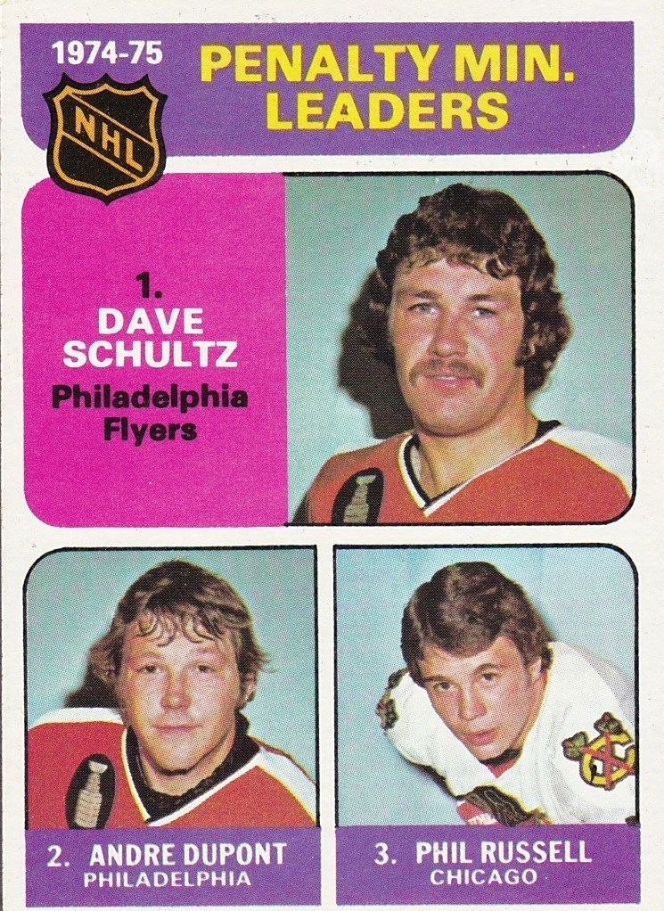 1975-76 Topps #211 Penalty Min. Leaders/Dave Schultz/Andre Dupont/Phil Russell